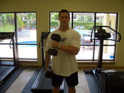 Dumbbell Seated One Arm One Leg Bicep Curl on Exercise Ball - Exercise ...