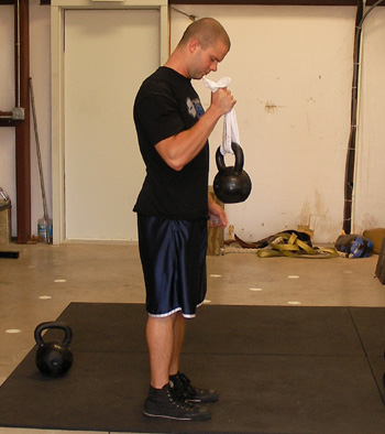 Russian Kettlebell Towel Hammer Curls Exercise Video Example