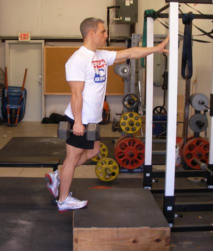 One Legged Dumbbell Calf Raises Exercise Demonstration