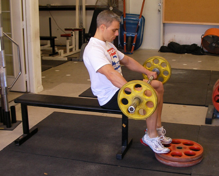 Seated Barbell Calf Raises Exercise Demonstration