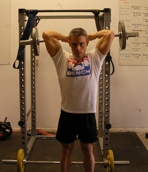 Standing Ez Bar French Press Exercise Using Weight Bench