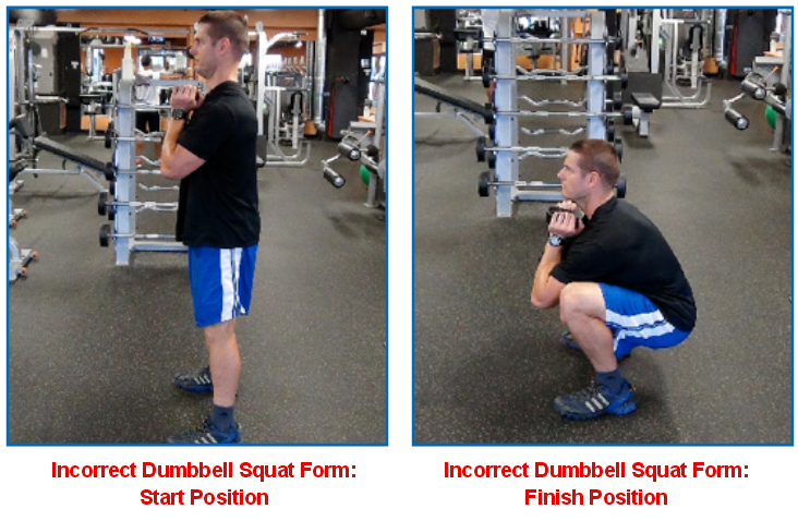 dumbbell squat - incorrect