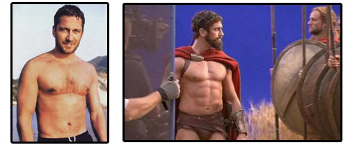 Gerard Butler Before and After 300 - celebrity muscle weight gain