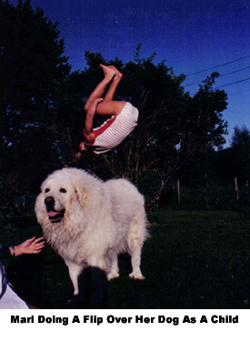 Fit Mari Asp Doing A Flip Over Her Dog as a Youngster