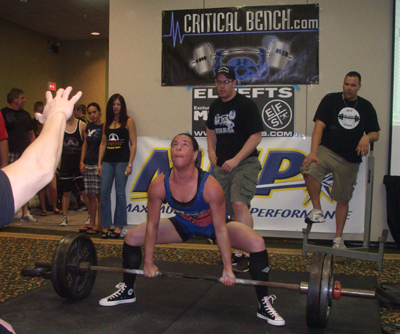 Suzanne pulling a dead lift